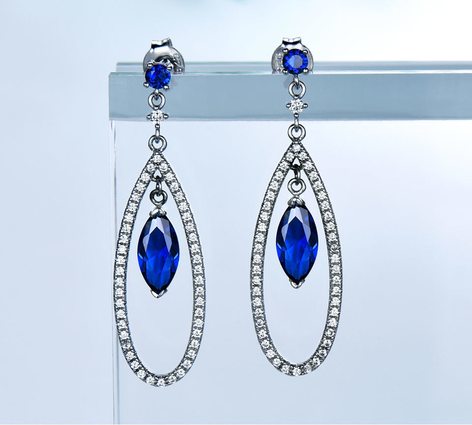 UMCHO Sapphire 925 sterling silver jewelry set for women S021S-1 (3)