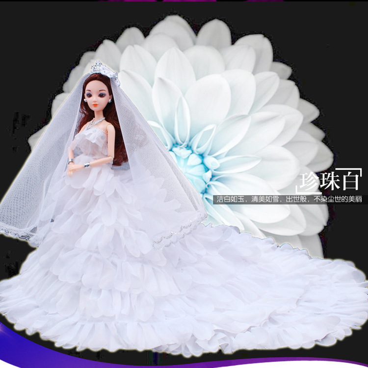 3d Beautiful Pupil White Tailing Will Wedding Dress Barbie Doll Gift Box A Doll Height 30 Centimeter 12 Joint