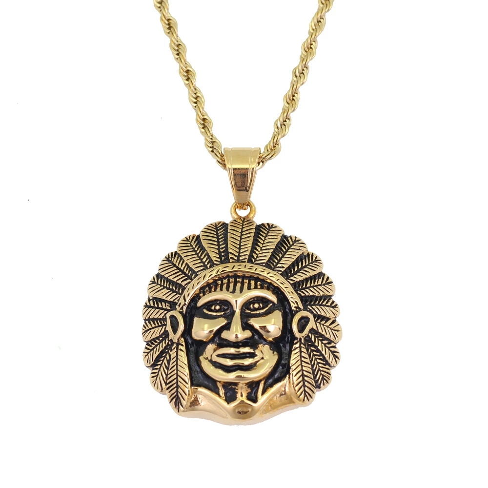 Stainless Steel Tribal Tiger Oval Head Key Charm Pendant Necklace