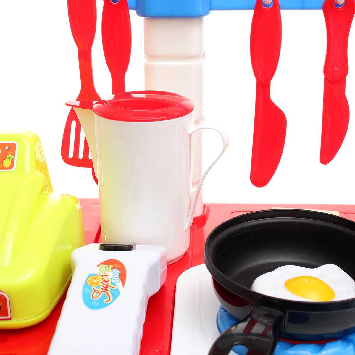 wholesale Miniature Kitchen Plastic Pretend Play Food Supermarket Children Toys With Light Music Kitchen Cooking Toy Set