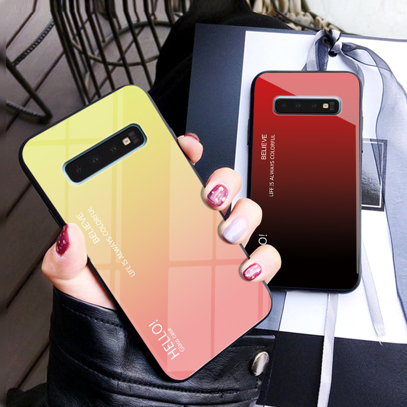 Gradient Tempered Glass Case For Samsung S10 Lite Case For Samsung Galaxy S8 S9 S10 Plus Note 9 A6 A8 Plus 2018 Case Glass Cover