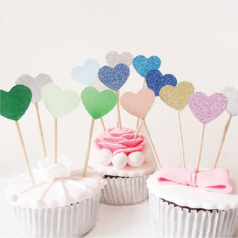 10pcs Birthday Cupcake Toppers Love Heart Party Decor Baby Shower Wedding Cake