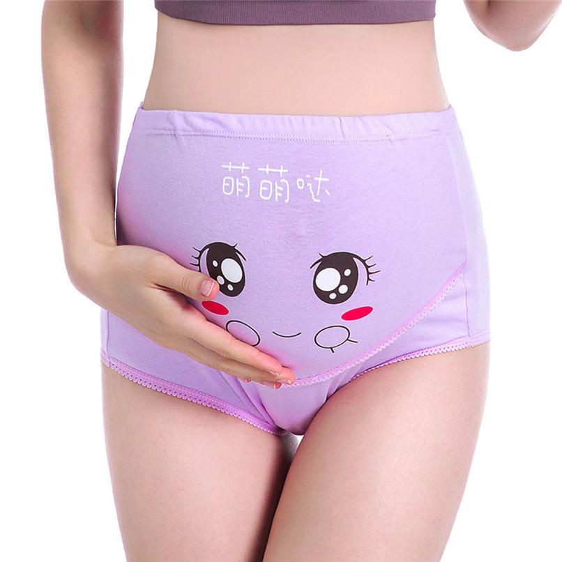 M-XXXL Pregnancy Maternity Clothes Cotton Women Pregnant Smile Printed High Waist Underwear Soft Care Underwear Clothes S14#F (35)