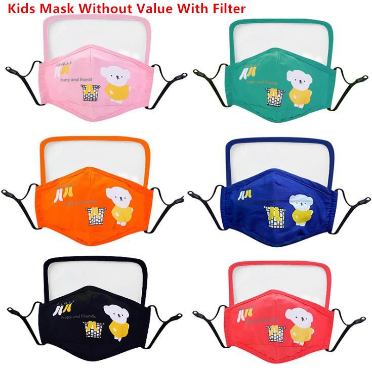 News Cotton Face Masks With Breath Valve PM2.5 Screen Shield Mask Anti-Dust Fabric Adult/Kids Mask Washable Kids Cartoon Mask With Filter