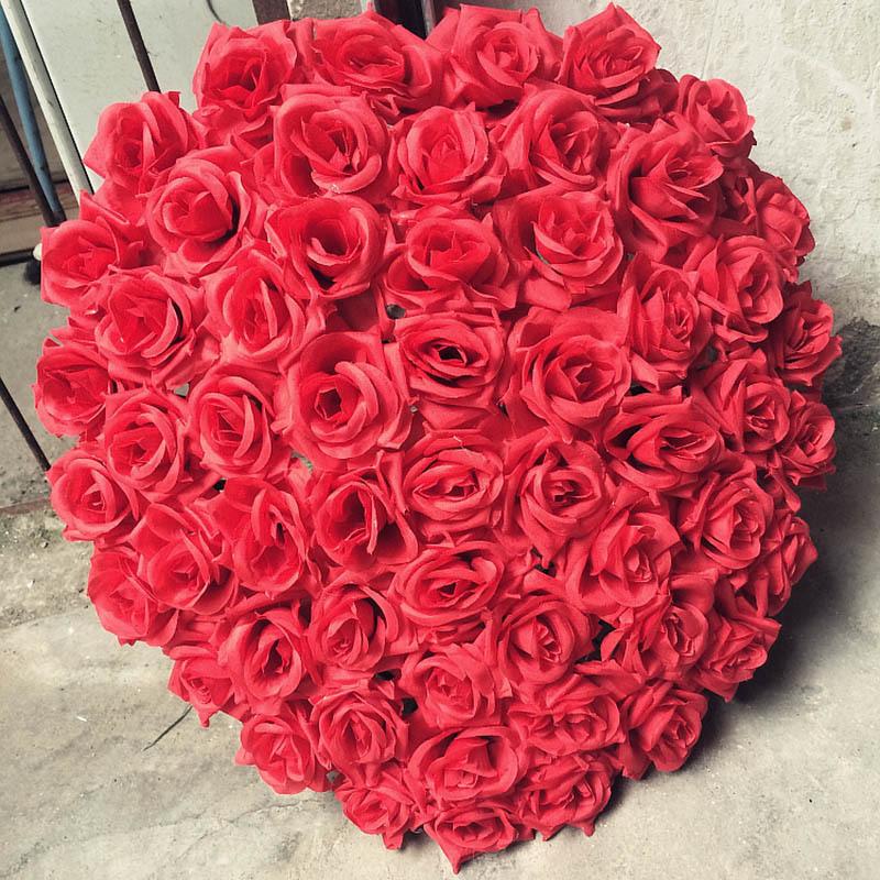 Fleurs artificielles accories bricolage décoration de voiture de mariage coeur bricolage fleur supports de ceinture de boue de fleur