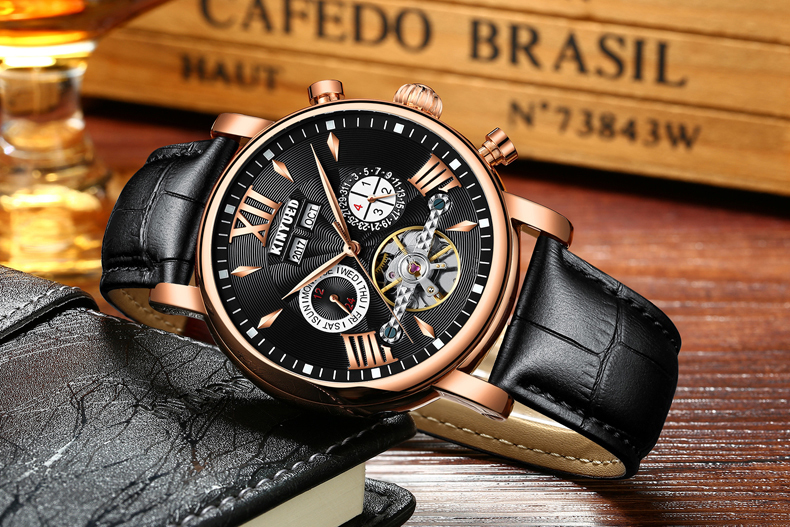 Precise Mechanical Automatic Mens Watch Flying Tourbillon Leather Waterpoof Business Watches Office Party Sport Daily Life Gift (5)