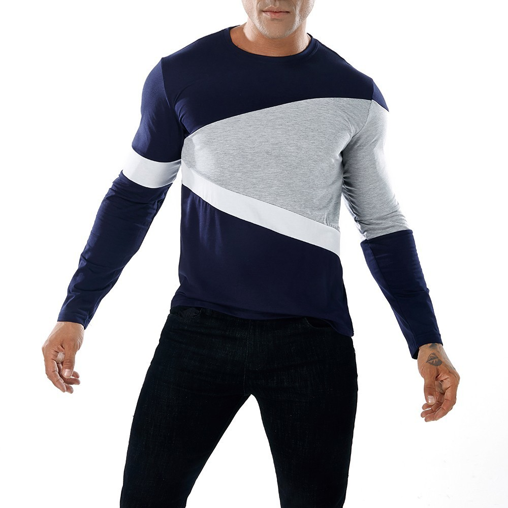 good quality T-shirt Men Fashion Men's Casual Patchwork Slim Long Sleeve T Shirt Muscle Top Blouse Casual T-shirt Men Cotton Tees