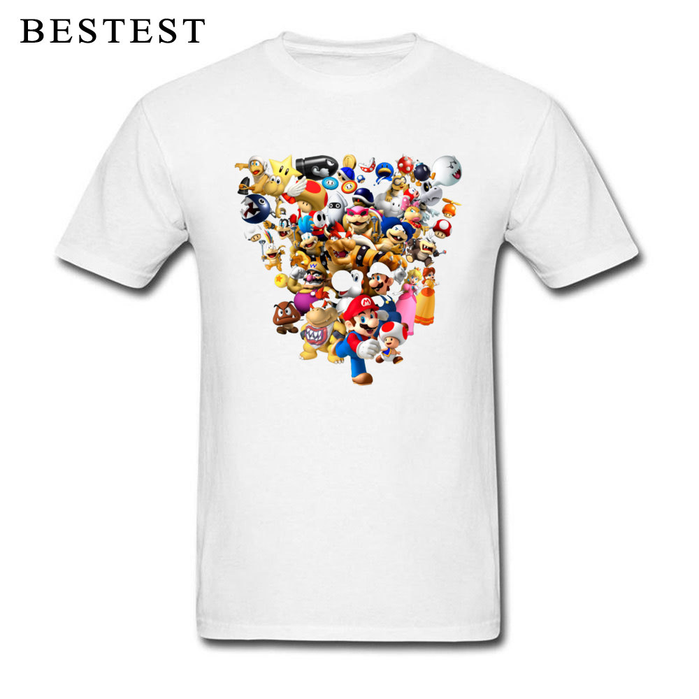 Mario Bros All Star 1825 Summer Fall 100% Cotton Crewneck Tops & Tees Short Sleeve Family Tops T Shirt High Quality T Shirt Mario Bros All Star 1825 white