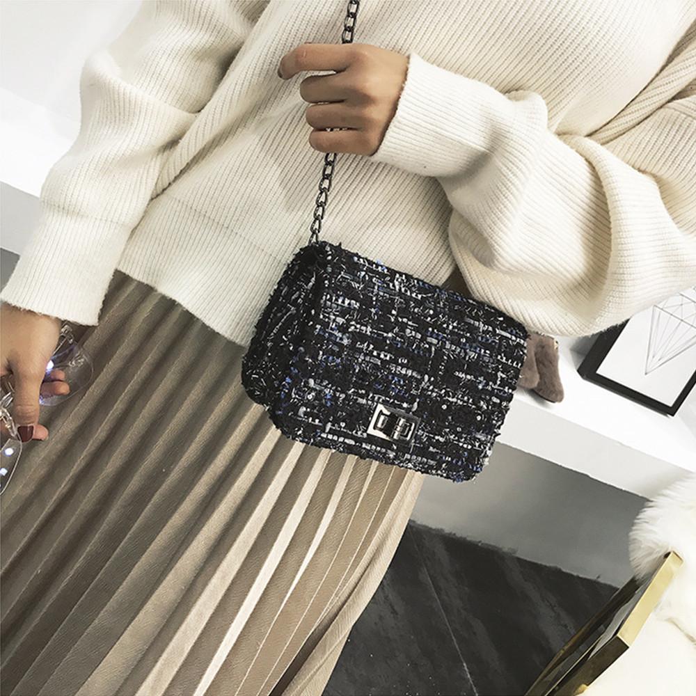 Women's Fashion Wool Panelled Hasp Weaving Messenger Bags Crossbody Shoulder Bags
