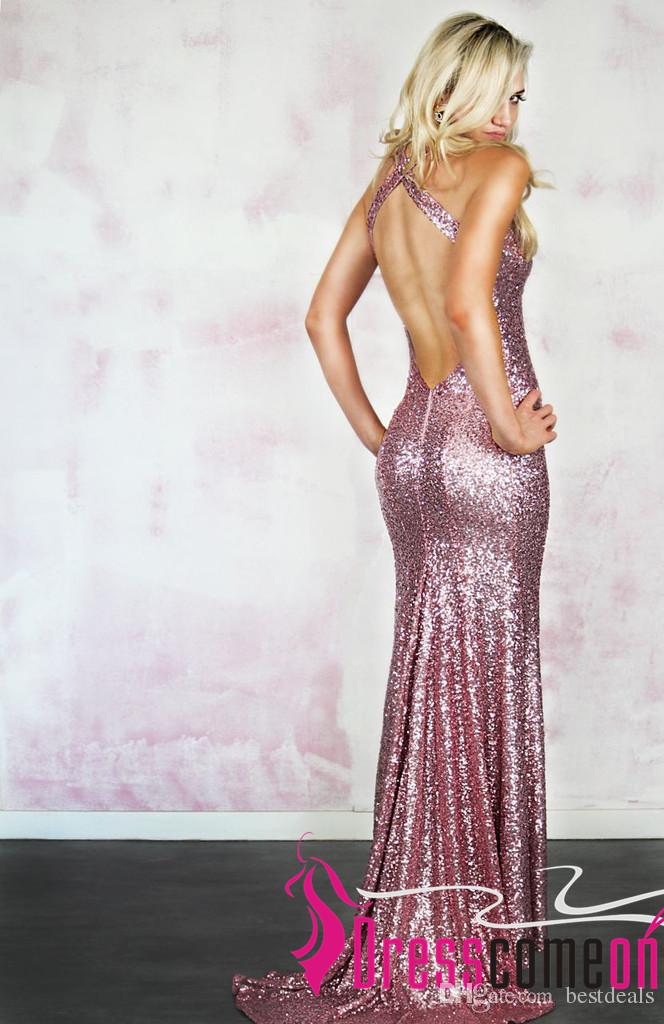 Rose Pink Sequin Mermaid Prom Dresses 2016 New Fashion Halter Sparkly Backless Sequins Glitter Evening Dresses Party Gowns Custom Made