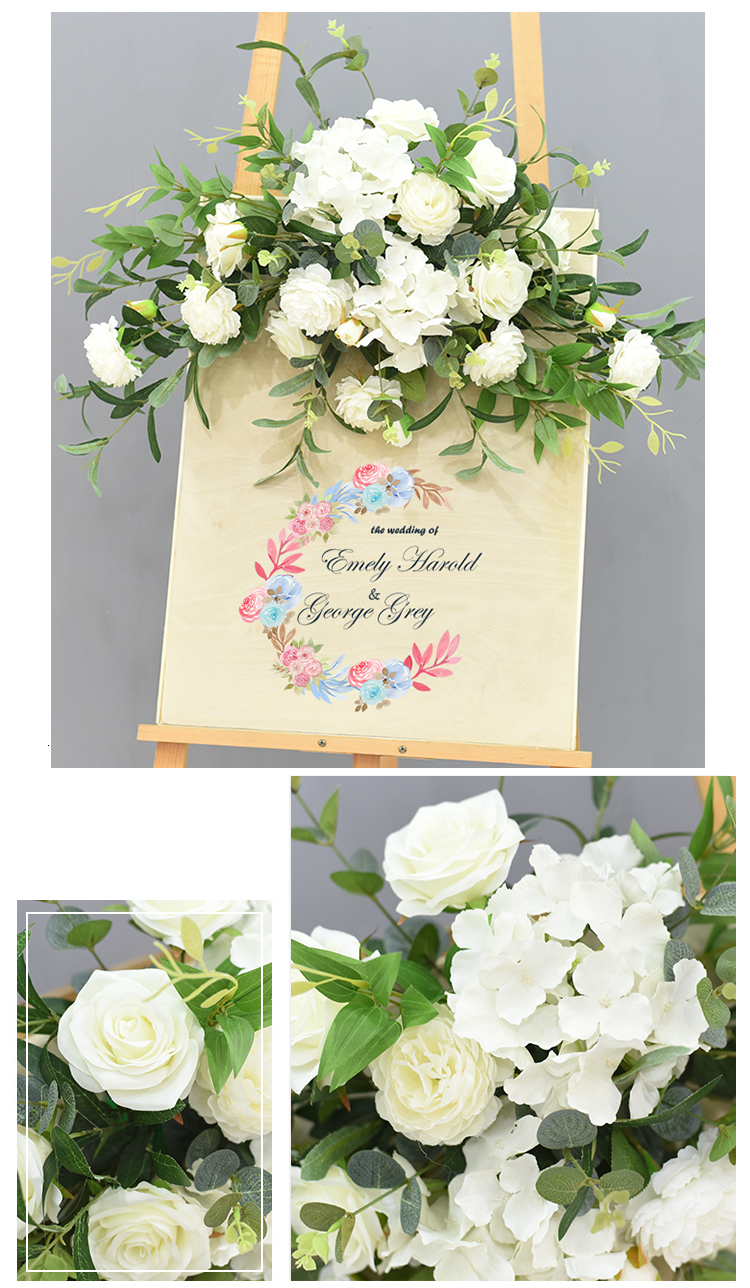 JAROWN Wedding Flower Row Welcome Sign Simulation Floral Hotel Creative Guide Decorations Photography Props Home Door Flower (18)