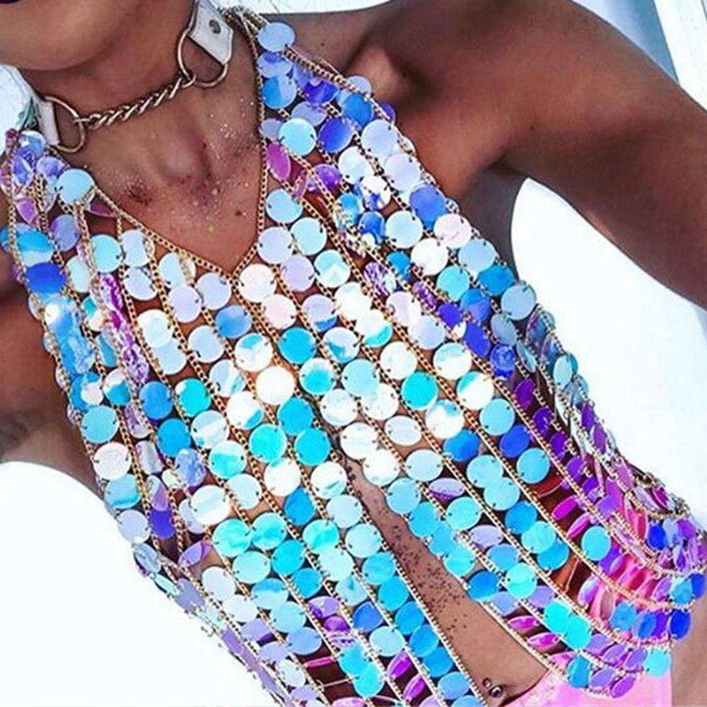 Bikini Vücut Zinciri Özel Ağır Özel Yaz Seksi Stil Metal Vücut Zinciri Meme Sutyen Reçine sequins Bildirimi Gerdanlık Yaka