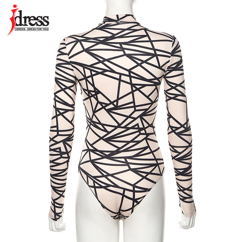 IDress 2020 New Long Sleeve Bodycon Bodysuit Sexy Patchwork Print Body Suit Tops Women One Piece Jumpsuits & Rompers Overall (8)