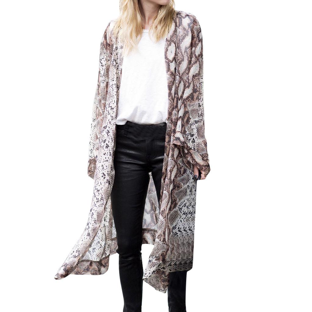 Femme Mousseline de Soie Épissure Long Cardigan Ouvert Veste Kimono Manteau
