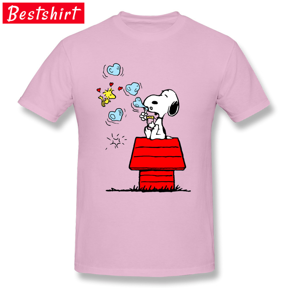 Snoopy and Woodstock -4362 Normal Summer/Autumn Pure Cotton O-Neck Men Tops Tees Tee Shirt Popular Short Sleeve Top T-shirts Snoopy and Woodstock -4362 pink