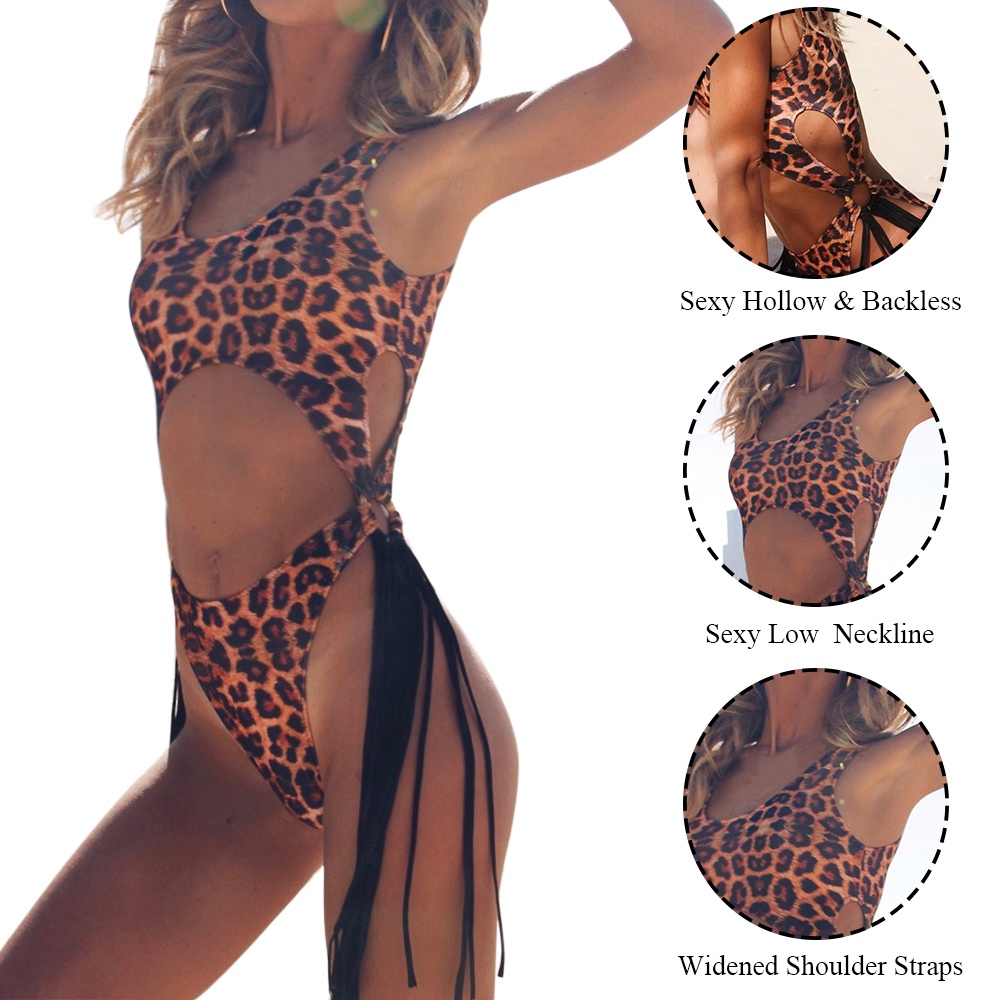 Bikini Nice Leopard Brazilian One Piece Bra Sets String Monokini Sexy High Cut Push Up Swimwear Women Tassel Bathing Brief Set