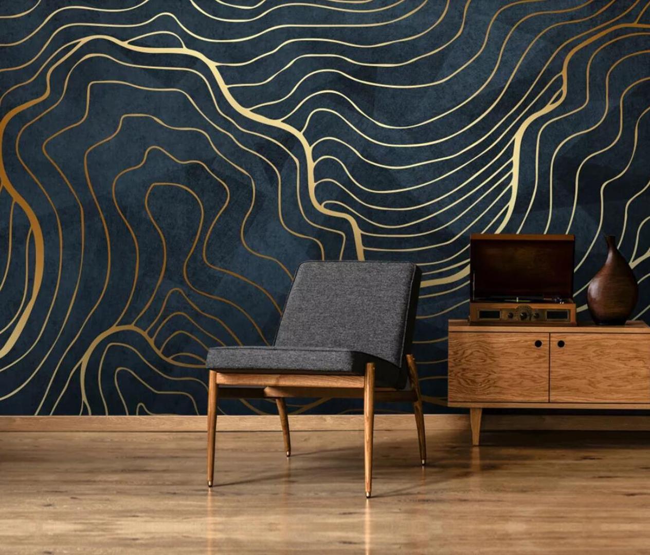 Papier Peint Pour Petit Salon résumé 3d gold line wallpaper creative peint pour le salon art accueil  décorations papel de parede designer wallpaper