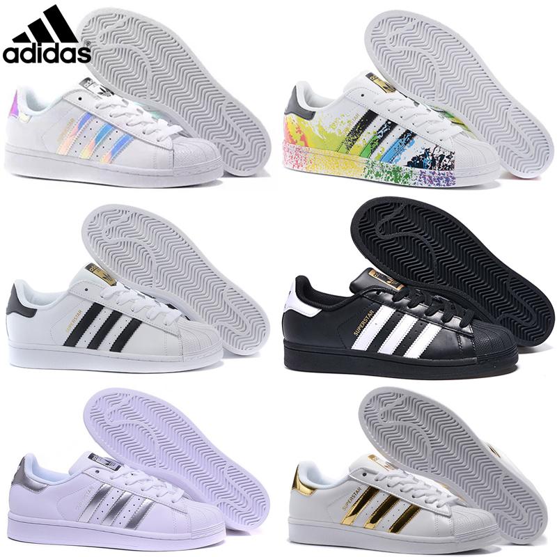 Adidas superstar 80s 2019 Casual Originals Superstar blanc irisé Hologram junior Superstars des années 80 Fierté Sneakers Super Star Femmes Hommes