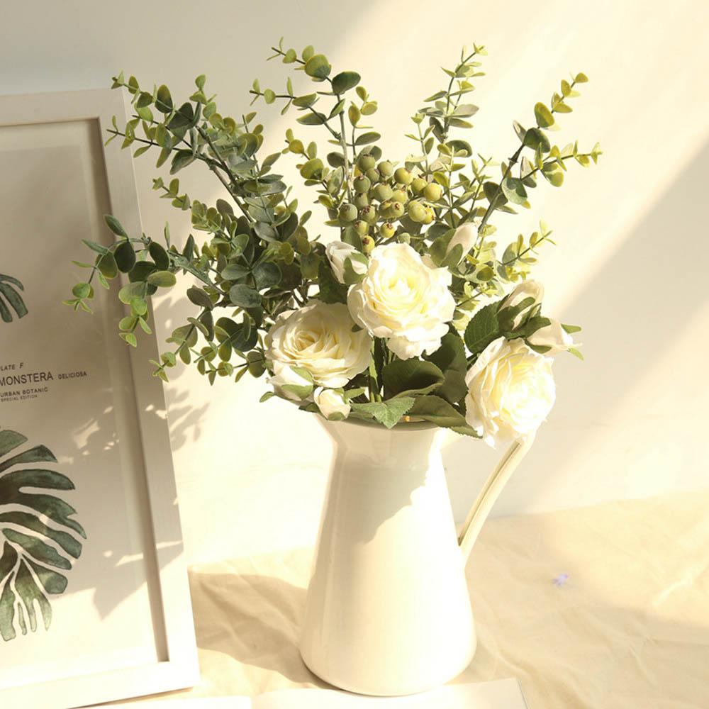 Feuille D Eucalyptus Bouquet bouquet de mariage rose nuptiale de demoiselle d'honneur pivoine eucalyptus  feuilles bouquets de haute qualité en soie artificielle fleurs arrangement