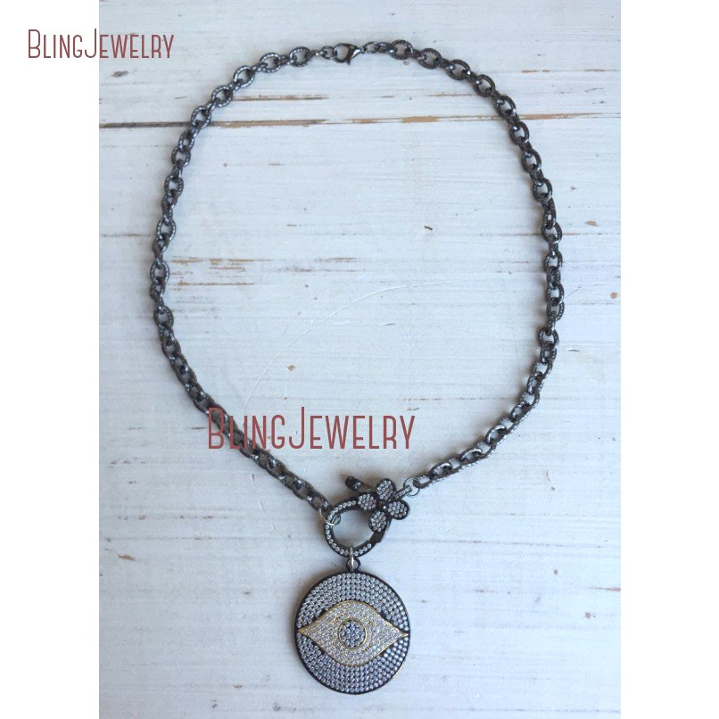20181010-NM18382-gunmetal and gold pave crystal evil eye disc pendant with pave crystal flower clasp on gunmetal chain necklace_1