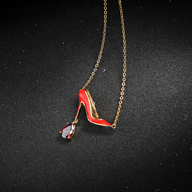 wholesale Jewelry Wholesale/2018 Red High Heel Shoes-shape Pendant Necklace High End Necklace