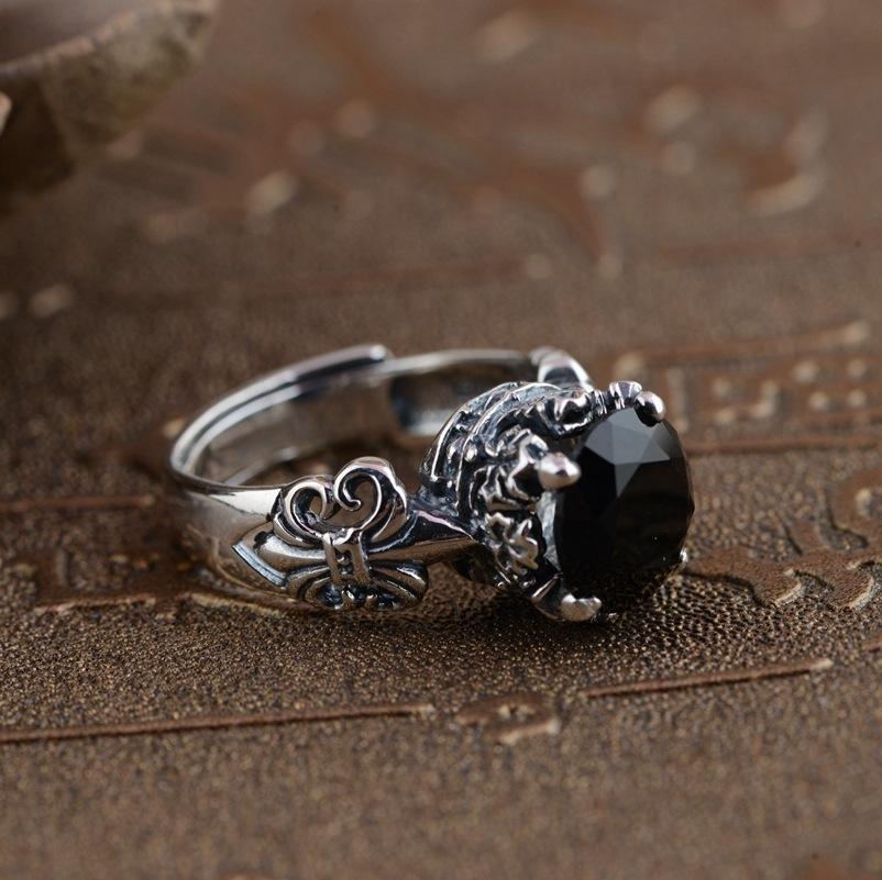 Erkekler Ve Kadınlar Için 925 Ayar Gümüş Siyah Oniks Taş Yüzük Oyma Vintage Çapa Kakma Doğal Taş Açılış Tipi J190525
