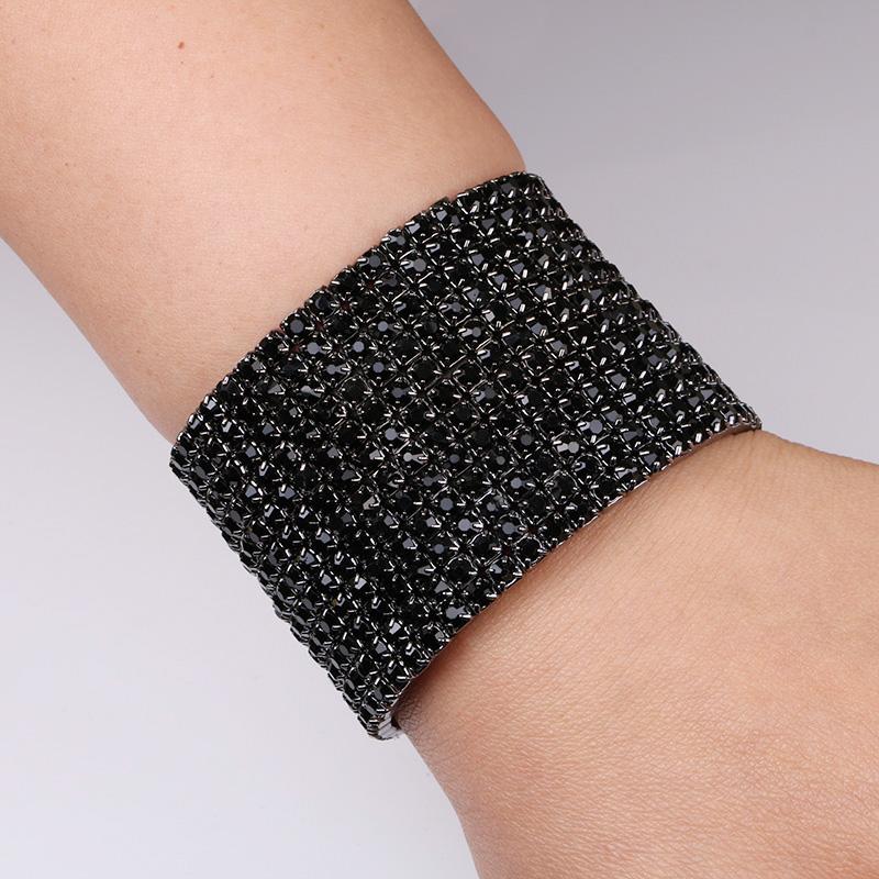 TDQUEEN 12 Rows Black Crystal Rhinestone Bangle Bracelet Black Gun Plated Metal Wide Indian Bangles for Women (1)
