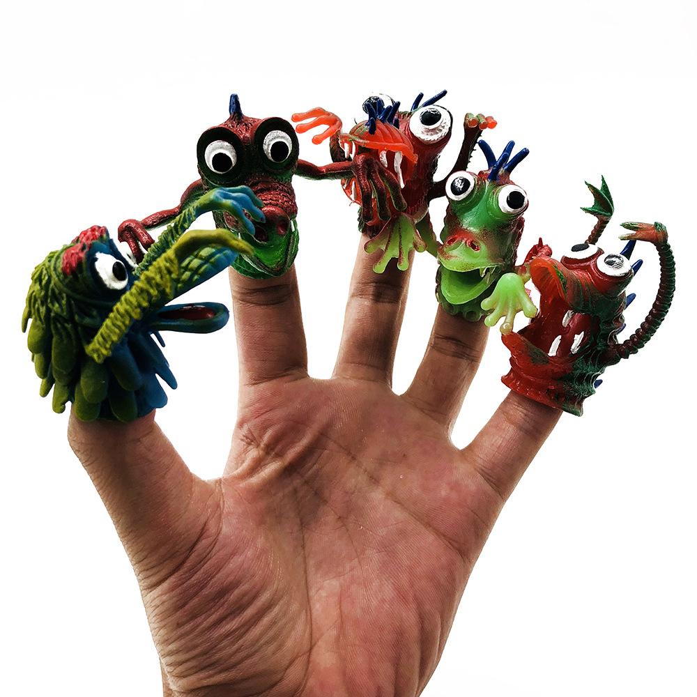 Funny Multi-color Silicone Novel Plastic Finger Puppet Story Mini Dinosaur Toys