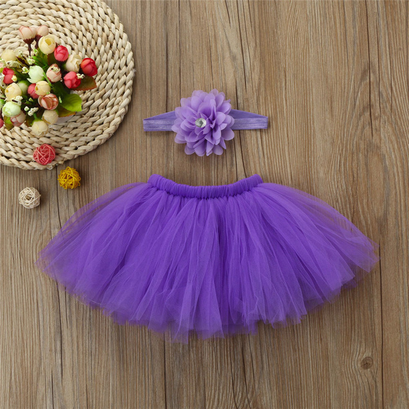 5 Color Summer Girls Skirt Toddler Baby Newborn Solid Lace Skirt+Floral Headband For Photo Prop Suit For 0-4M M8Y08 (18)