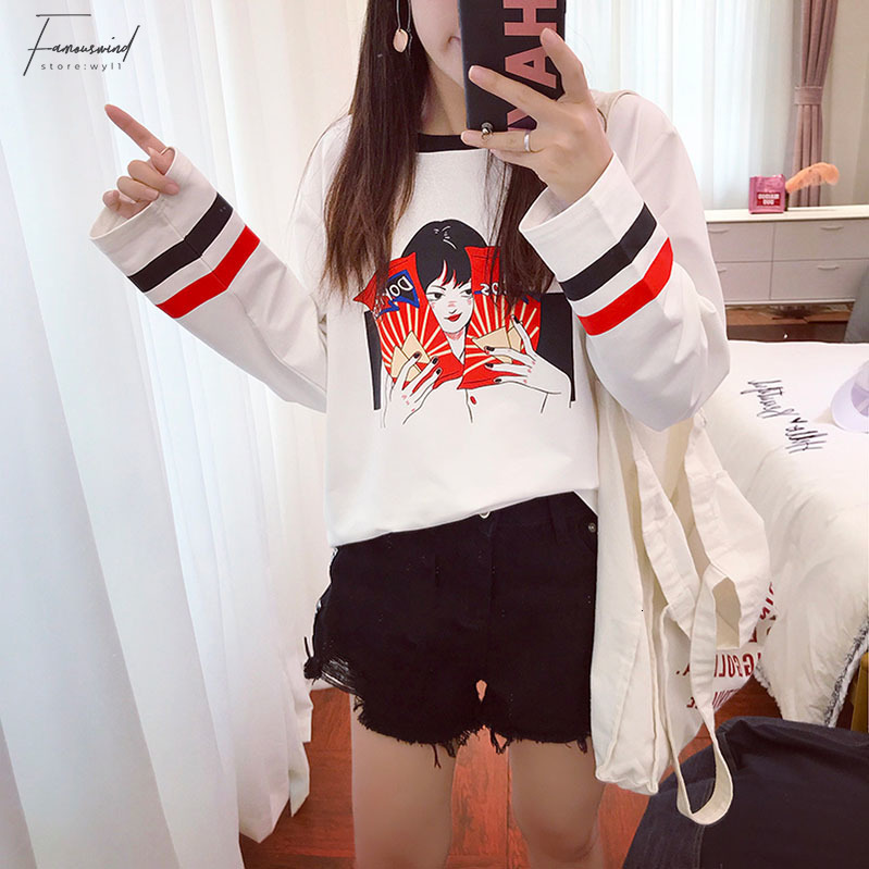 Kadın T-shirt Kadınlar İçin Japon Kawaii Bayanlar Ulzzang Karikatür Baskı Bf Gevşek tişört Kadın Kore Harajuku Giyim Tops
