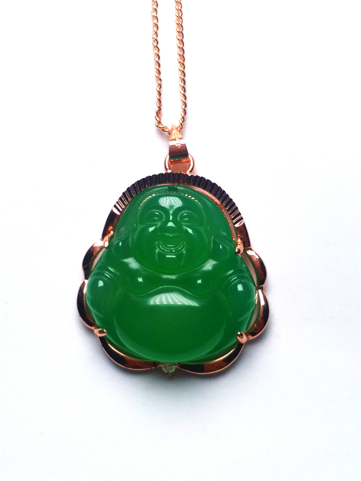 Certificat 18KGP Or Naturel Incrusté Vert Jade Bouddha Pendentif Chaîne Collier De Pierres Précieuses En Gros