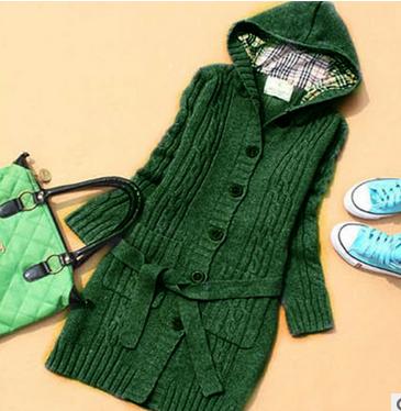 Kemer ile Kadın Uzun Kollu Kış Sıcak Triko Örme Hırka 2019Fashion Gevşek Triko Dış Giyim Ceket Kaban