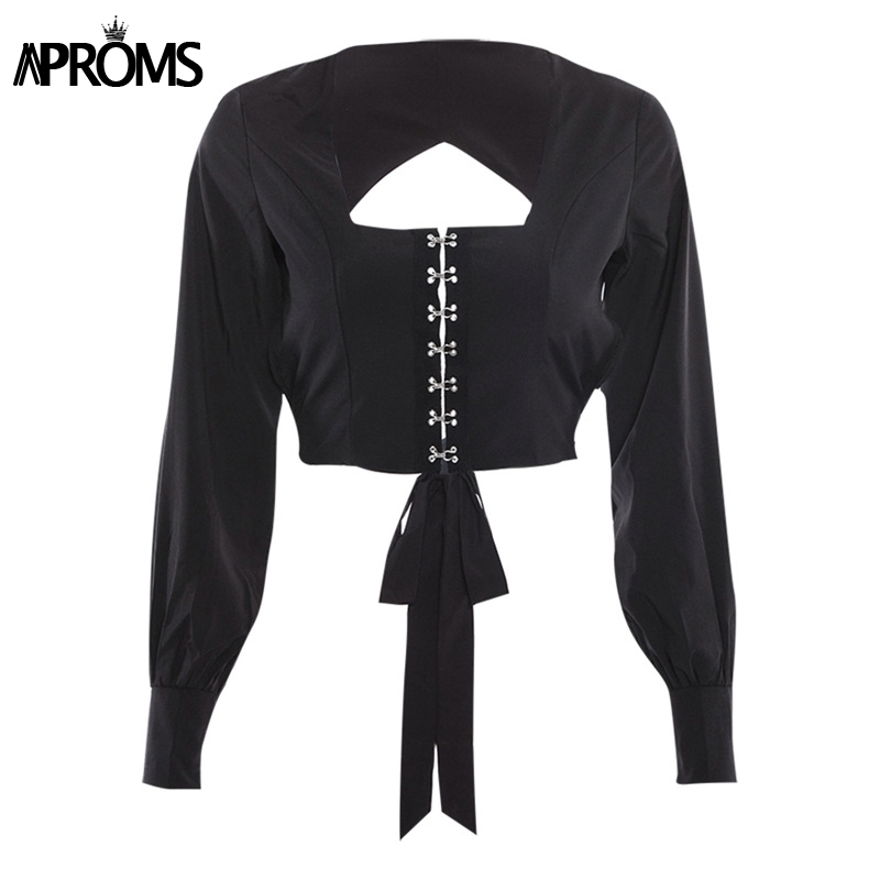 Aproms Vintage Square Neck Long Sleeve Crop Top Women Sexy Backless Bow Tie Up Black Blouse Summer Streetwear Tops 2019 Blusas J190620