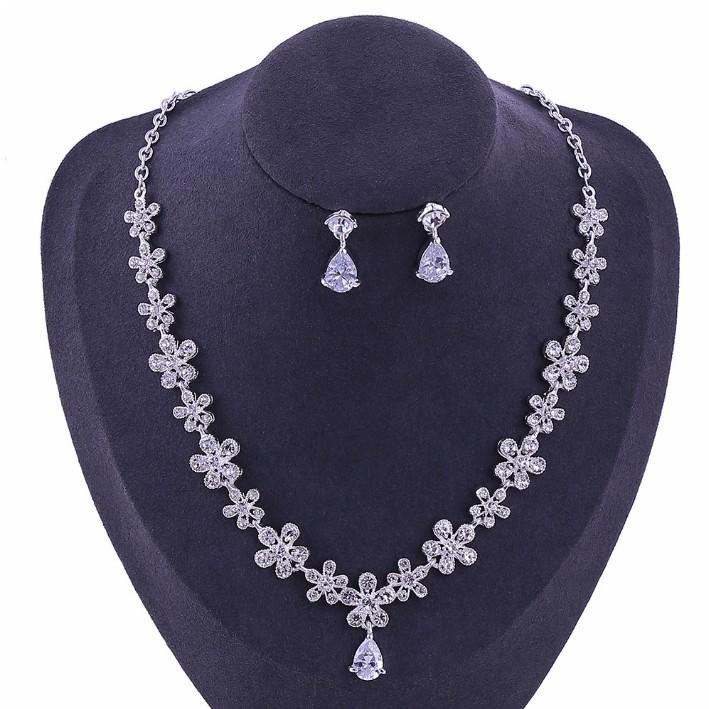 Élégant Mariée Partie De Shinny Cristal Perle Fleur Collier Boucle D/'Oreille Set Mariage Bijoux
