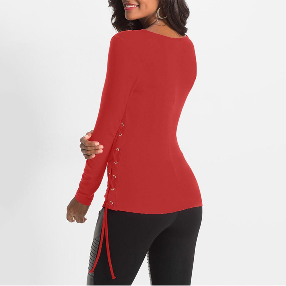 Para mujer Tops y blusas Vintage Wrap Lace Up V cuello manga larga Tops túnica camiseta delgada Ropa para mujer Blusas Feminina C19041601