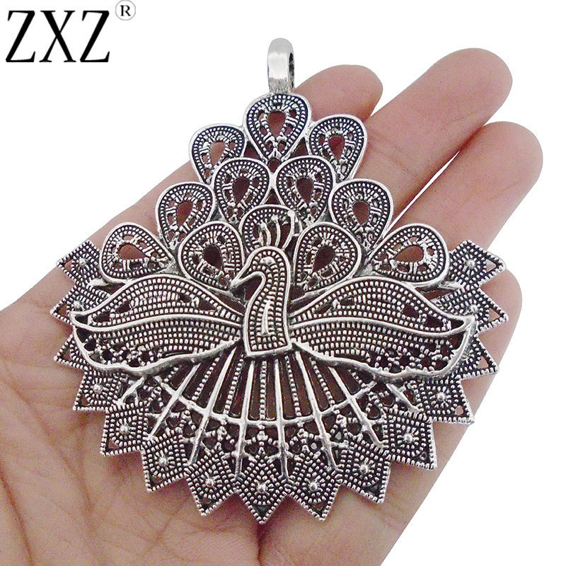 2Pcs Antique Silver Curved Charms Carved Filigree Flower DIY Jewelry Findings