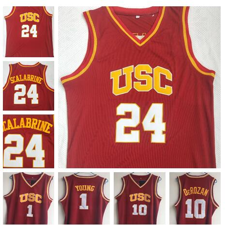 Mens Southern California USC #24 Brian Scalabrine Basketball Jerseys Red