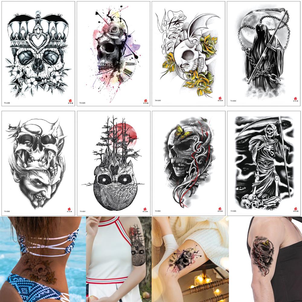 Como Escolher Tatuagem Homem osso sickle falso preto punk skull tattoo do esqueleto da morte bonés  impermeável tatuagem temporária arte de corpo para homem mulher fresca 2020