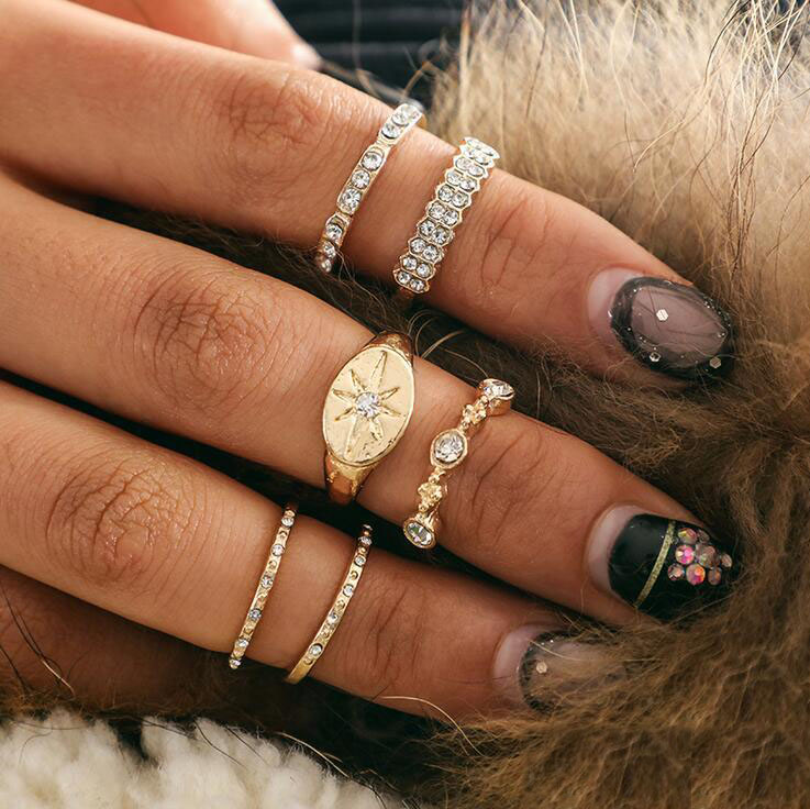 Many Style Charm Women Gold Silver Crystal Band Midi Finger Knuckle Stack Rings