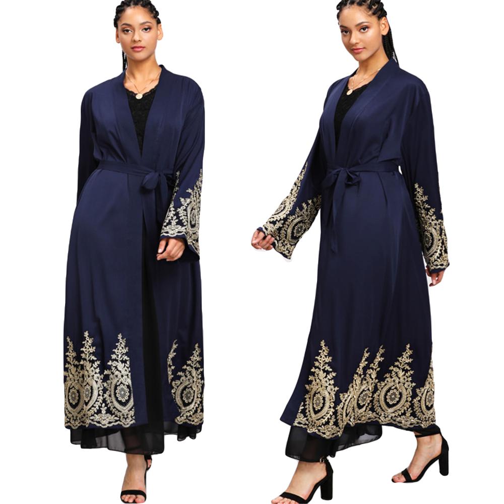 Muslim Women Open Abaya Kaftan Dubai Cardigan Islamic Kimono Cocktail Maxi Dress