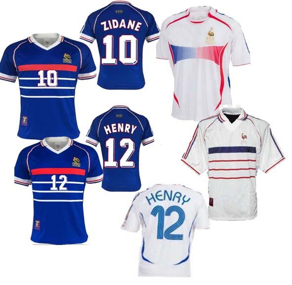 France Retro Football Shirt World Cup Classic Badge Two Stripe Soccer T-Shirt