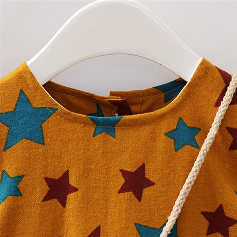 Girl Clothes Girls Dress Toddler Baby Girls Long Sleeve Star Printed Princess Dress+Cartoon Shoulder Bag Set girl costume D18 (13)
