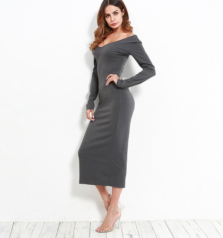 8b45836753c93 2019 Cwlsp Skinny Ribbed Sweater Dress Women Slash Neck Off Shoulder Long  Sleeve Dresses Slim Sexy Vestido Longo Robe Femme Ql3644 Y190425 From  Gou02, ...