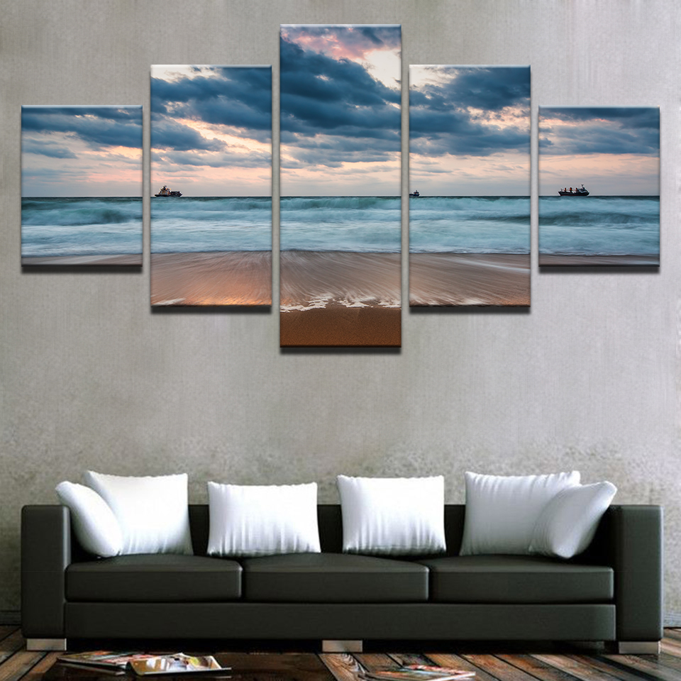 HD Prints Painting Home Decor Canvas Living Room Framework Sea Waves Beach Pictures Cloudy Boat Seascape Poster Wall Art