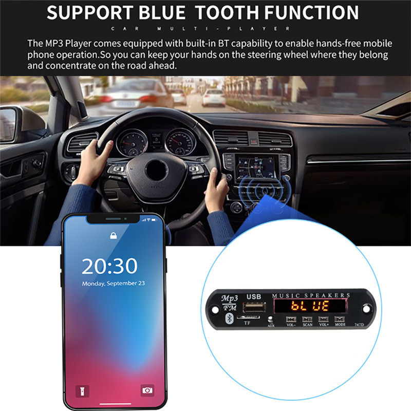 With Mic Handsfree Bluetooth MP3 Decoder Board Car FM Radio Module Support FM TF USB AUX Audio Player Bluetooth car kit 12V1