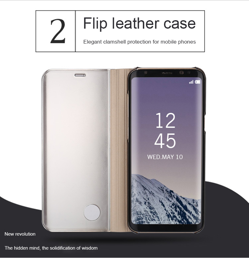 wholesale Luxury Mirror Flip Phone Case For Samsung Galaxy S9 S8 Plus S7 S6 Edge Clear View Smart Cover For Samsung S9Plus Coque