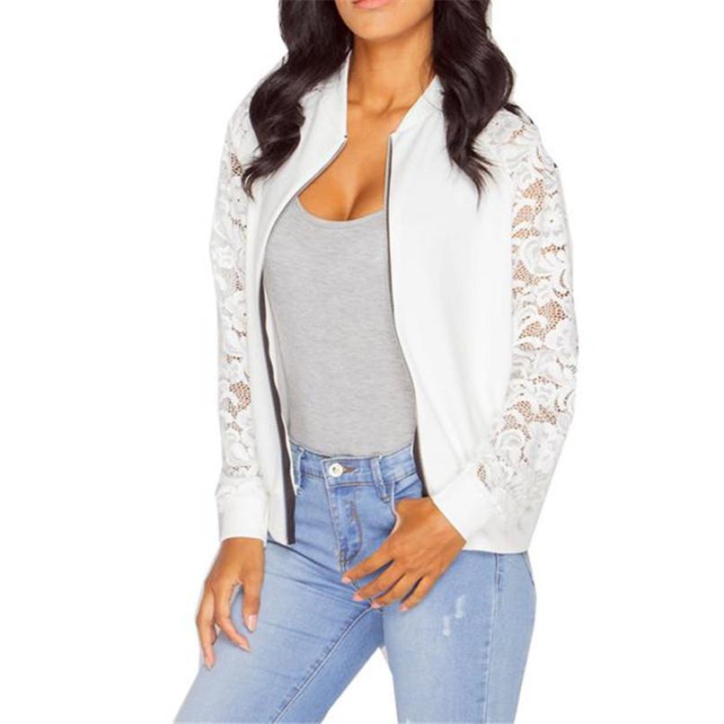 Lace Sleeve Women Basic Coats Long Sleeve Lace Patchwork Transparent Zipper Casual Slim Jacket Coat Bomber Jacket Outwear 40OC315