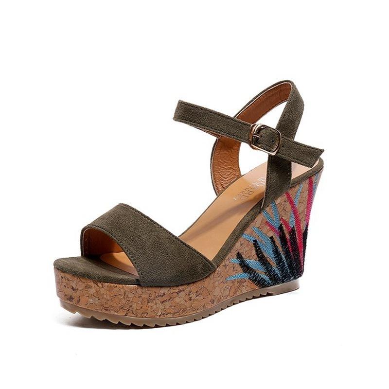 COOTELILI High Heels Women Summer Shoes Women Sandals Summer Shoes Women Open Toe Embroidery Beach Sandals 35-39 (10)