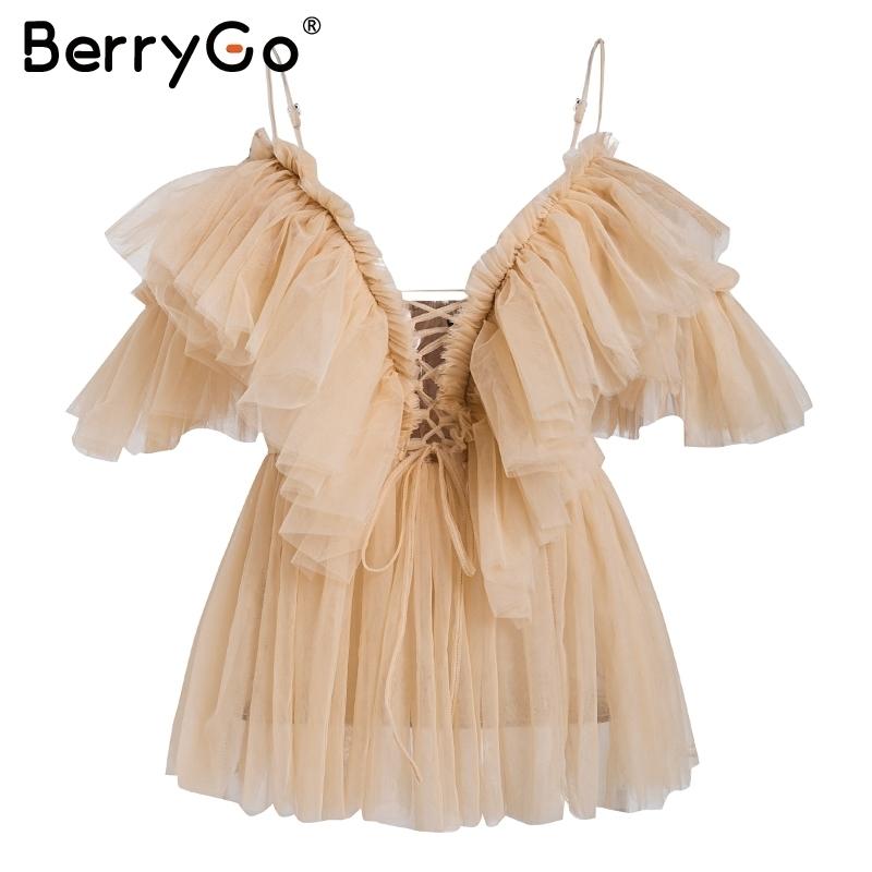 Berrygo Kayış Ruffles Örgü Bluz Kadın Gömlek V Boyun Kapalı Omuz Yaz Bluz Streetwear Seksi Peplum Blusas Tops Tops 2019 Yeni T190409