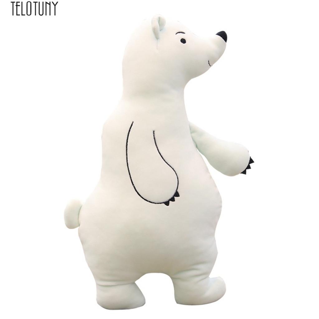 TELOTUNY 17.8 Inch stuffed baby fashion filled dolls giant Stuffed Animal Polar Bear Plush Toys sleeping back Pillow Z0109